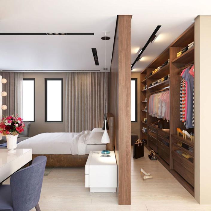Progettare una cabina armadio dietro il letto | Agan Design